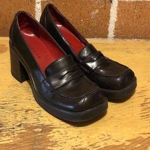 Vintage rampage dark brown heeled loafers - 8.5
